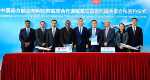 Executives from Emirates and China Southern at the signing ceremony for a codeshare agreement between the two airlines
