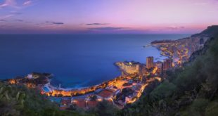 Winter sunset sky and clouds over the Principality of Monaco.